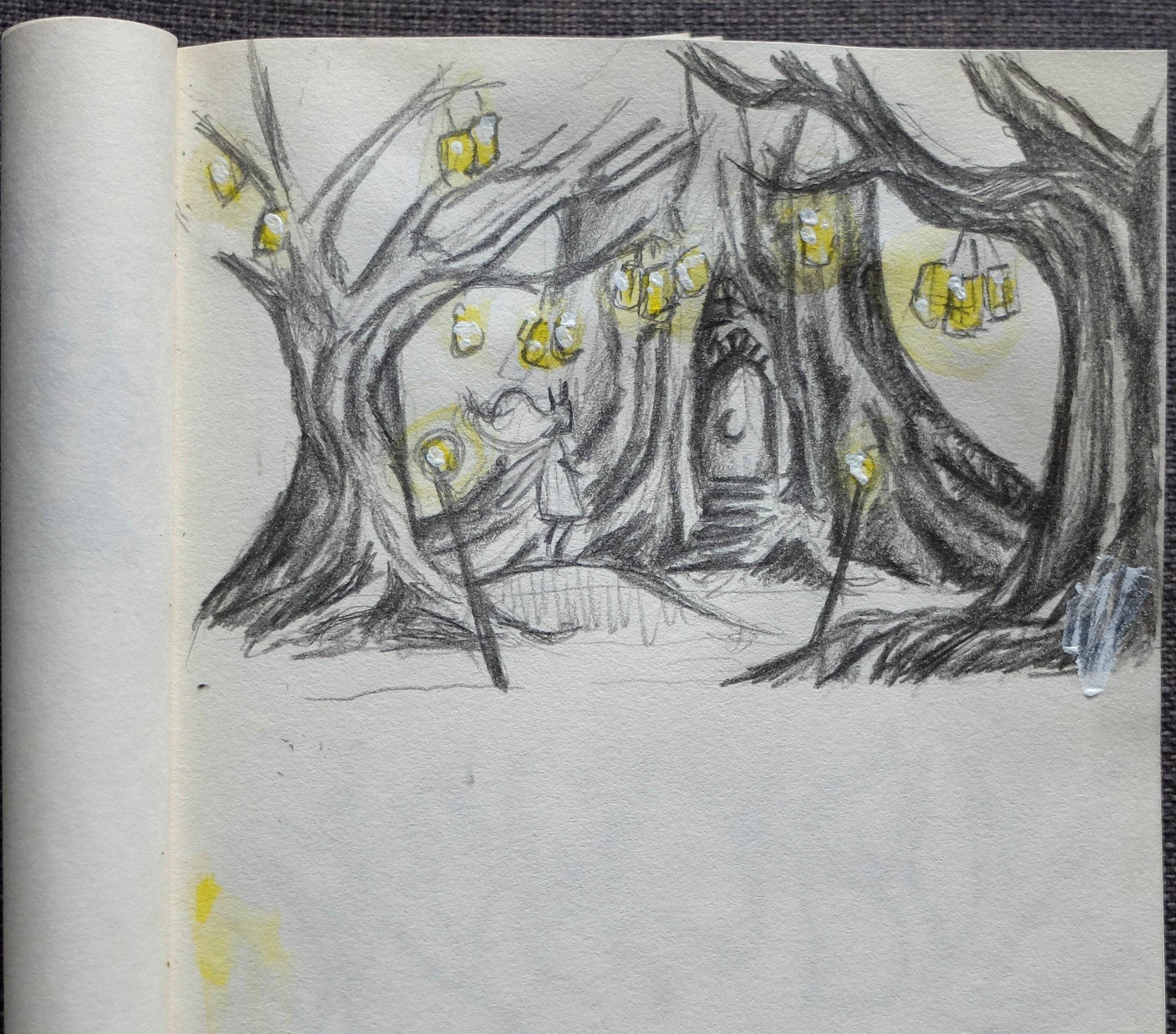 croquis child of light arbres papier paper 3D card popup