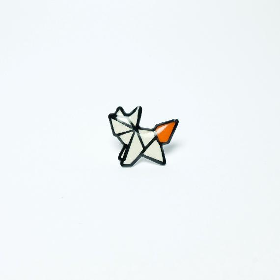 pins orange goupil fox papier paper 3D card popup
