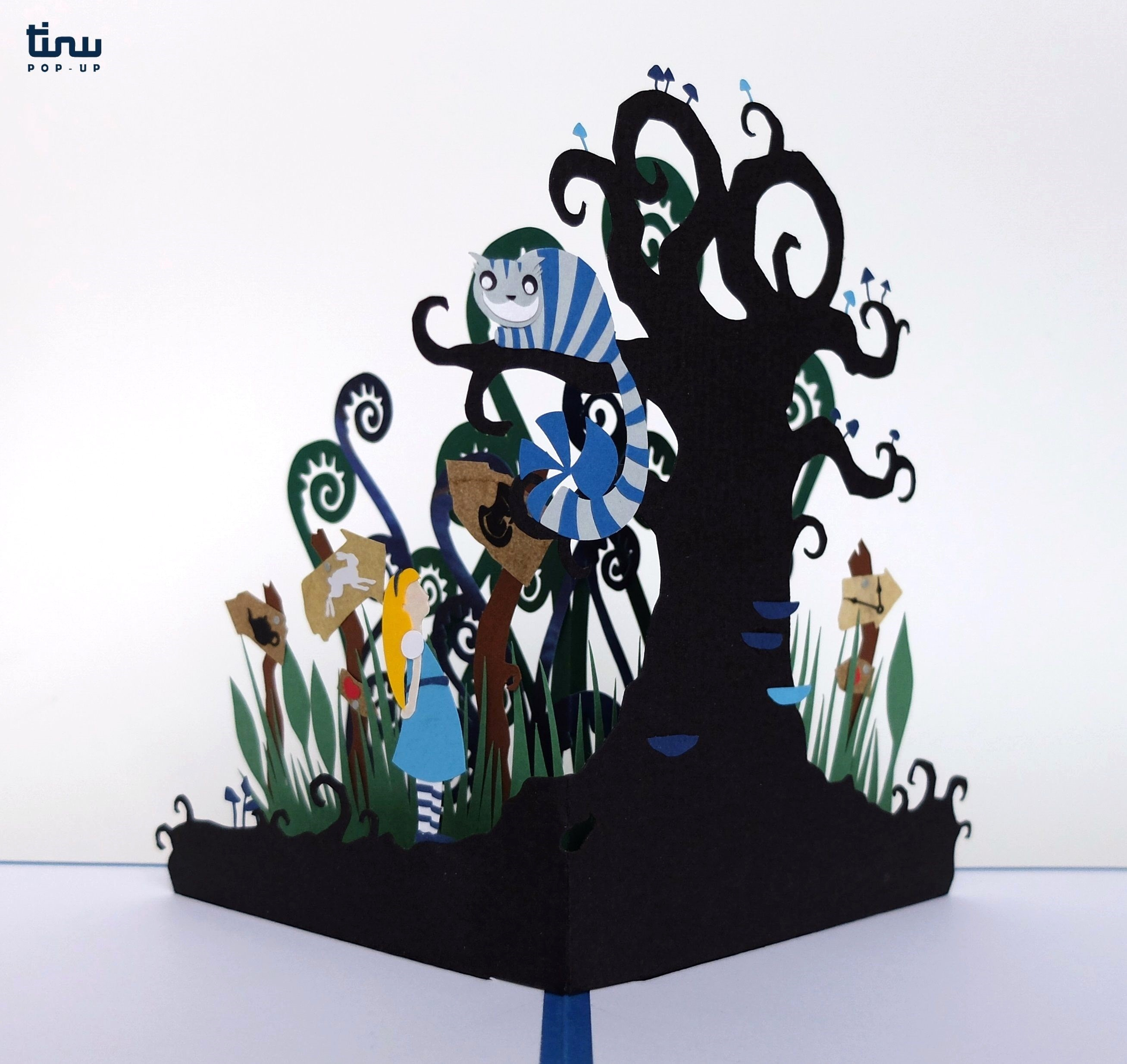 tinu deluxe alice cheshire carroll papier paper 3D card popup