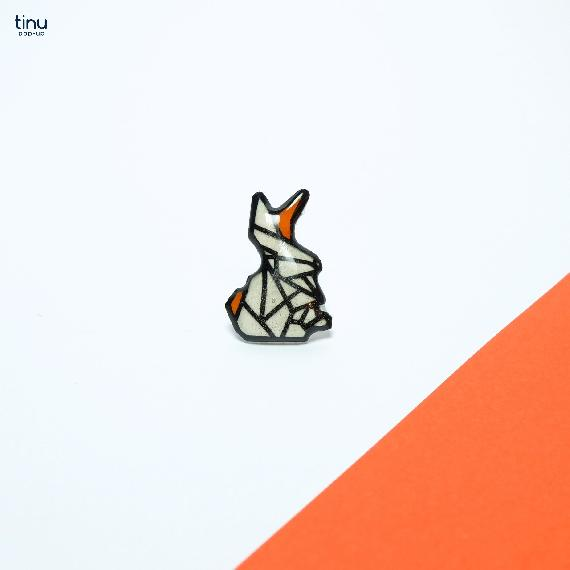 tinu pins orange lapin complexe rabbit papier paper 3D card popup