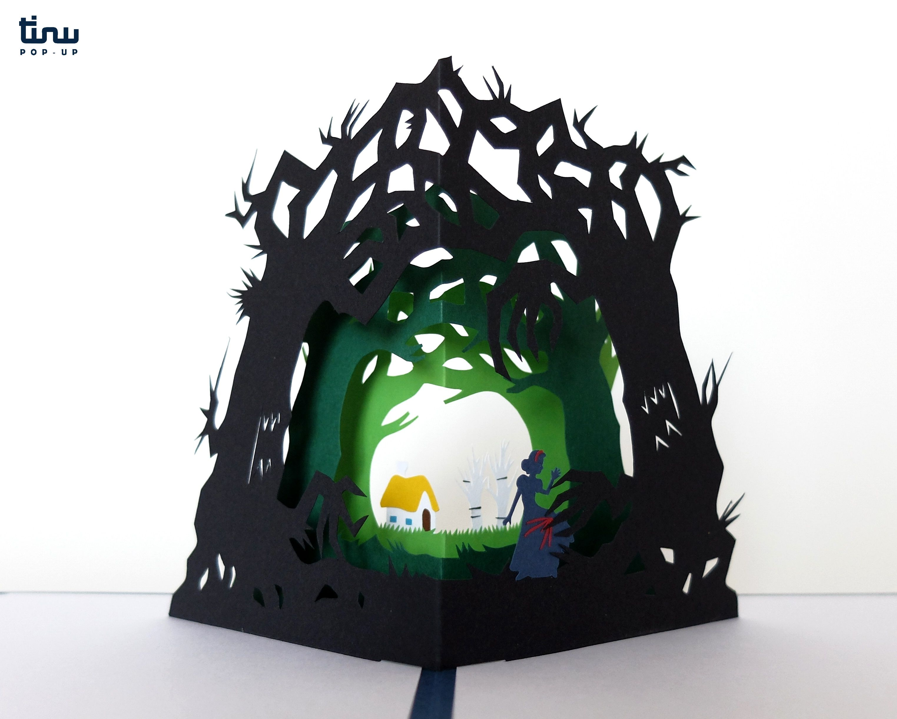 tinu pop up blanche neige snow white papier paper 3D card popup