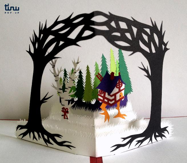 tinu pop up conte baba yaga russe papier paper 3D card popup