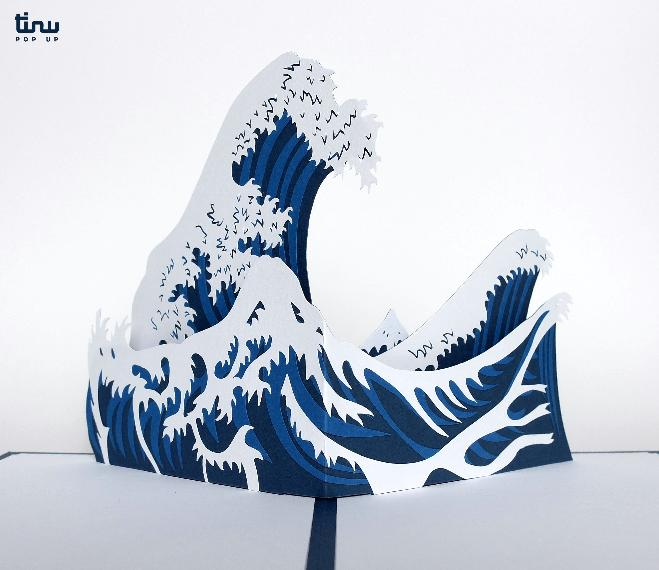 tinu pop up vague hokusai japonais papier paper 3D card popup