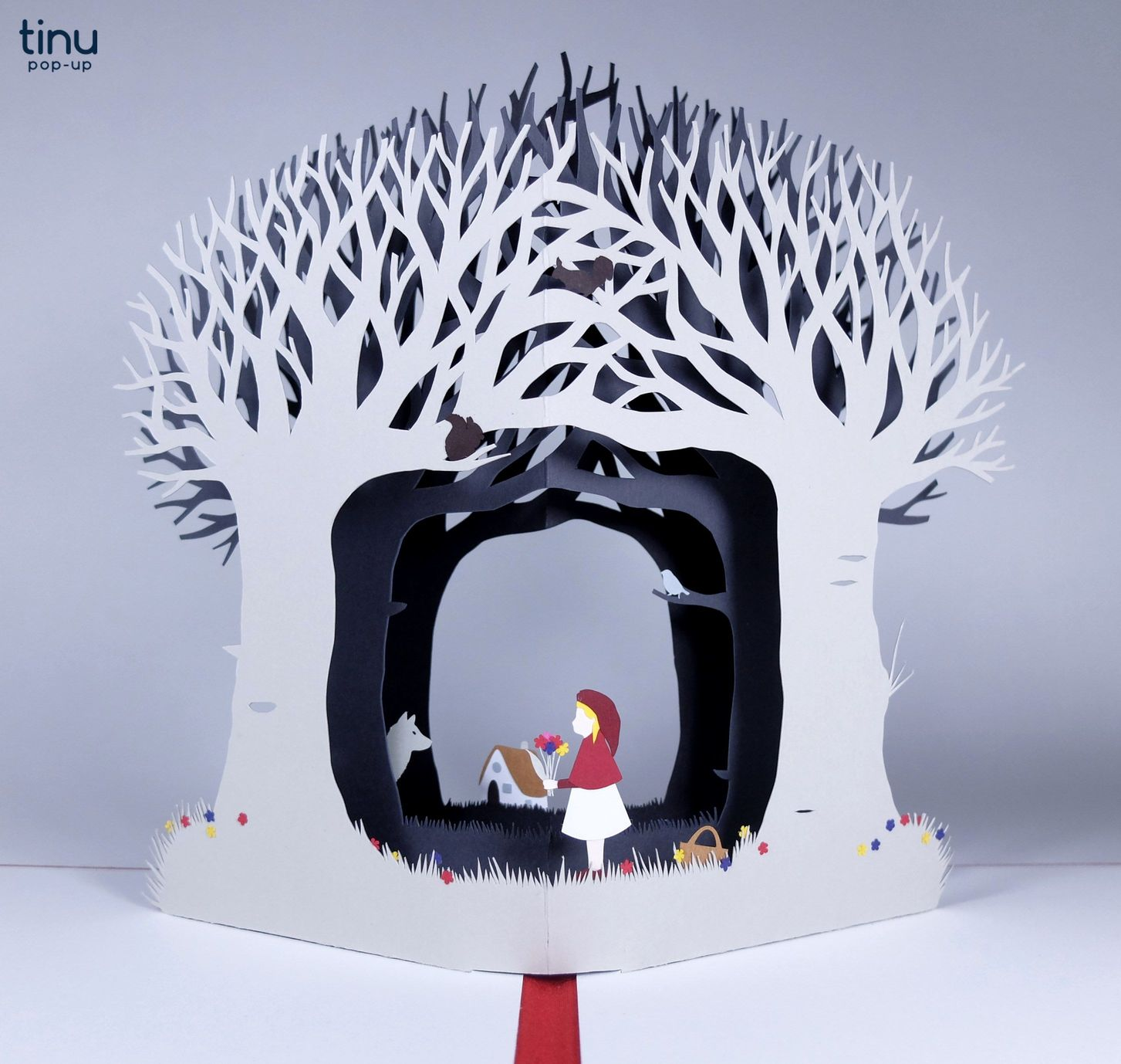 tinu site tinu pop up chapron rouge wolf loup papier paper 3D card popup